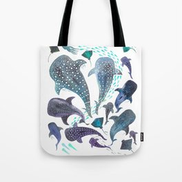 Whale Shark, Ray & Sea Creature Play Print Tote Bag