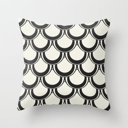 Midcentury Scales in Black and White Throw Pillow