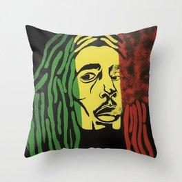 rasta man,vibration,jamaica,reggae,music,smoke,ganja,weed,pop art,portrait,wall mural,wall art,paint Throw Pillow