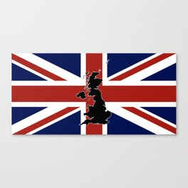 UK Silhouette and Flag Canvas Print