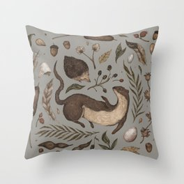 Weasel and Hedgehog Throw Pillow