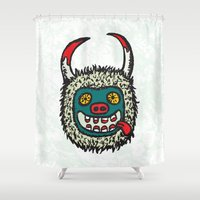 pagan Shower Curtains featuring Traditional Croatian carnival mask from the region around Rijeka by mangulica