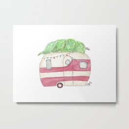 Christmas and Camping, Retro Camper, Holidays Metal Print