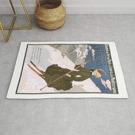 1905 Chamonix France Winter Sports Travel Poster Rug