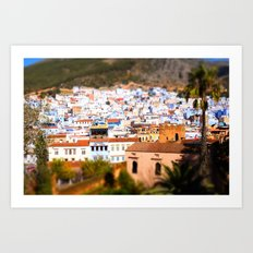 City View of Chefchaouen, Morocco Art Print