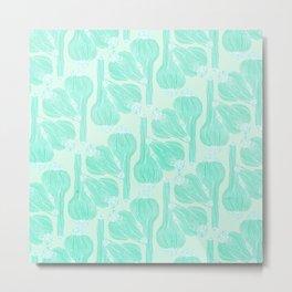 Garlics Pattern in Pastel Green Metal Print