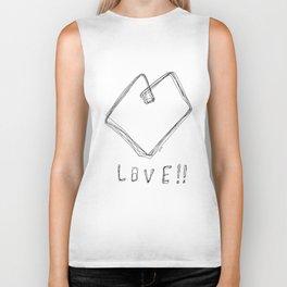 Love! Love! Love! - Heart Illustration Pop Art Biker Tank