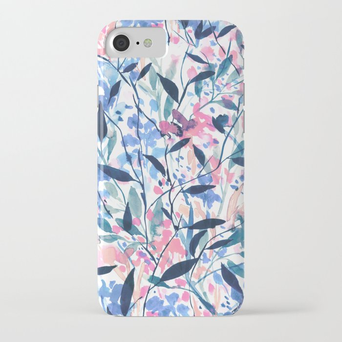 Wandering Wildflowers Blue iPhone Case
