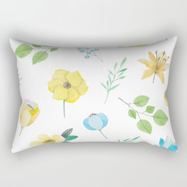 floral pattern with yellow flowers Rectangular Pillow