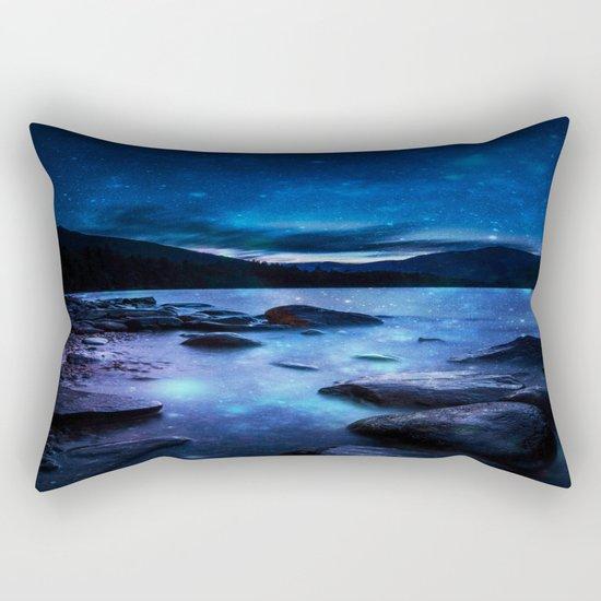 Magical Mountain Lake Dark Blue Rectangular Pillow