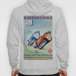 Nurburgring German Motorcycle Road Race Vintage Poster, Circa 1955 Hoody