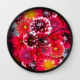 Dahlias flowers Wall Clock