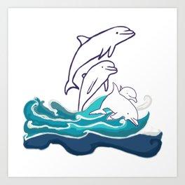 Happy Dolphins Art Print