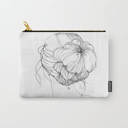 Line Art Print - Messy Bun Carry-All Pouch
