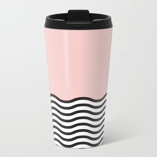 Waves of Pink Metal Travel Mug