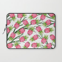 Summer tropical pink green watercolor pineapple floral Laptop Sleeve