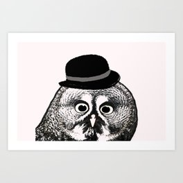 Owl in Bowler Hat  Art Print