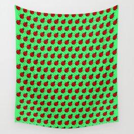 Ladybugs Pattern-Green Wall Tapestry