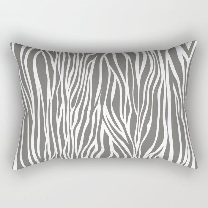 Safari Zebra Print - Grey & White Rectangular Pillow
