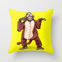 onesie Throw Pillows featuring Monkey Onesie by Alex Terry