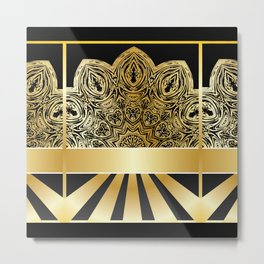 Background with golden floral Metal Print