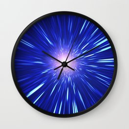 Glowing purple shpere with rays of light Wall Clock