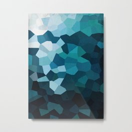Blue Crystal Geometric Metal Print