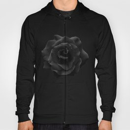 Single Large High Resolution Black Rose. Hoody