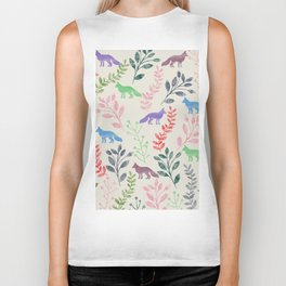 Watercolor Floral & Fox III Biker Tank