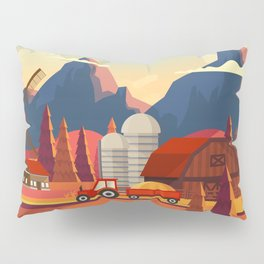 Rural Farmland Countryside Landscape Illustration Pillow Sham