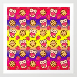 Cute funny sweet adorable happy Kawaii toast with raspberry jam and butter, chocolate chip cookies, red ripe summer strawberries cartoon fantasy yellow purple pattern design Art Print