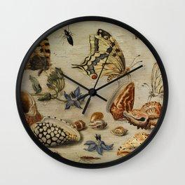 """Jan van Kessel de Oude """"Seashells, butterflies, flowers and insects"""" Wall Clock"""