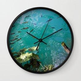 Fish In Greenblue Water Wall Clock