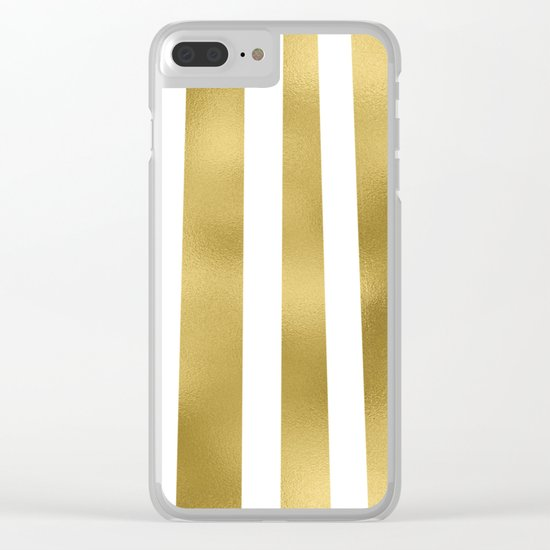 Gold unequal stripes on clear white - vertical pattern Clear iPhone Case