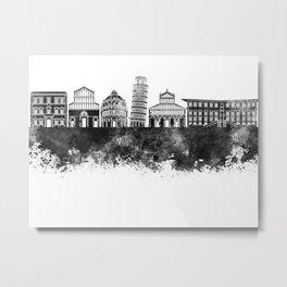 Pisa skyline in black watercolor Metal Print