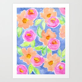 """Colorful Watercolor Flowers, Pink and Peach Flowers """"Let's Have a Picnic"""" Art Print"""
