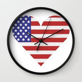 united states flag with heart Wall Clock
