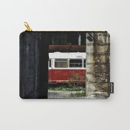 Old deserted train between buildings Carry-All Pouch