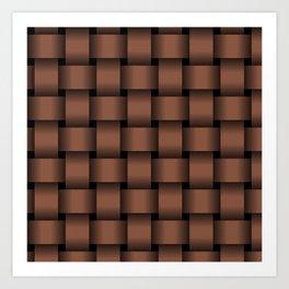 Large Dark Brown Weave Art Print