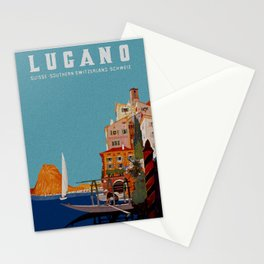 Vintage Lugano Switzerland Travel Stationery Cards