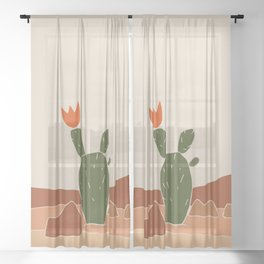 Red Crown cactus Sheer Curtain