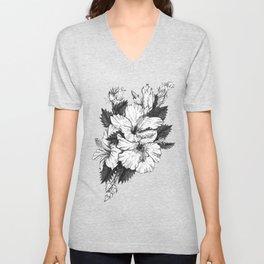 The Chinese Rose & The Tree Frog Unisex V-Neck