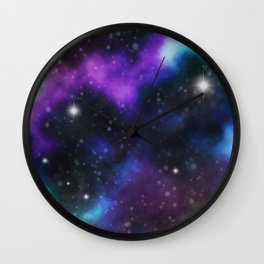 Galaxy Purple and Blue  Wall Clock