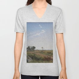 Johan Thomas Lundbye - Zealand Landscape. Open Country in North Zealand Unisex V-Neck