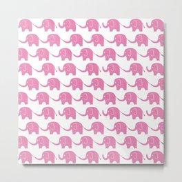 Pink Elephant Parade Metal Print