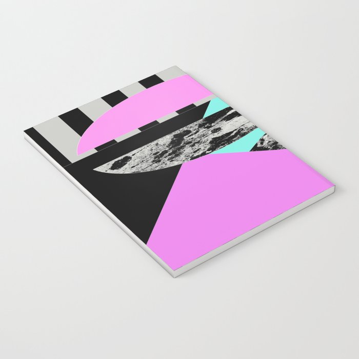 Abstract Geometric Semi Circles In Block Pink, Balck And White And Stripes Notebook