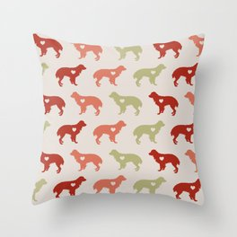 Valentine's dog surface pattern (red-green small) Throw Pillow