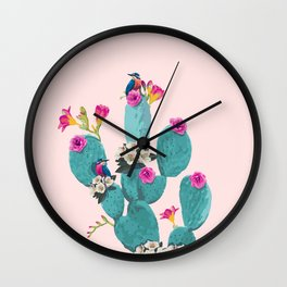 Cactus Hummingbirds Wall Clock