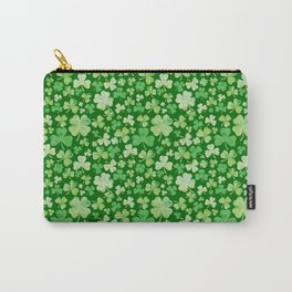 Lucky Green Watercolour Shamrock Pattern Carry-All Pouch