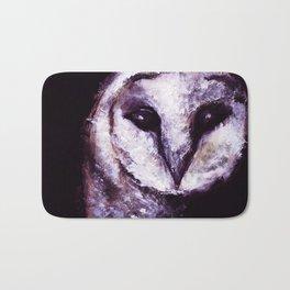 Barn Owl Painting by Lil Owl Studio Bath Mat